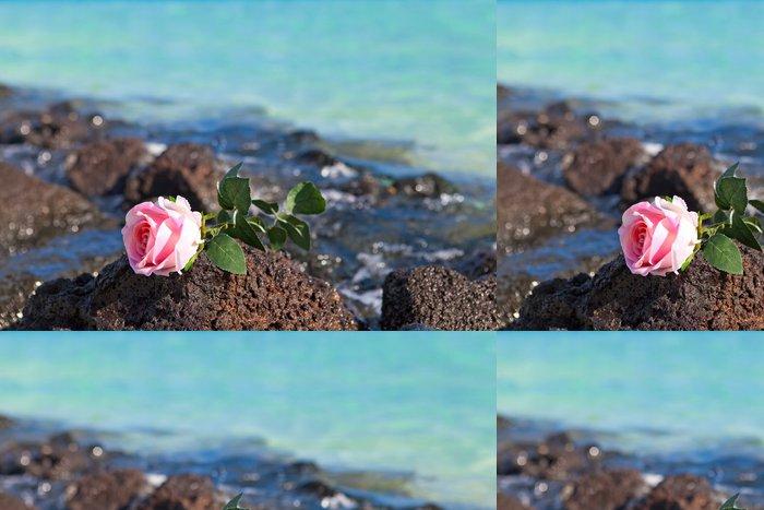 Tapeta Pixerstick Růže leží na kamenech na moři pozadí. - Prázdniny