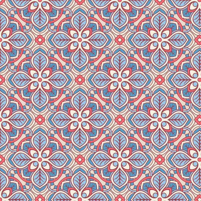 Vinylová Tapeta Růžová a modrá květinovým vzorem - Pozadí
