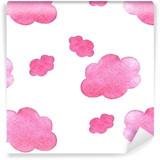 Vinylová Tapeta Růžová akvarel pozadí mraky. ručně malovaný oblak izolovaných na bílém