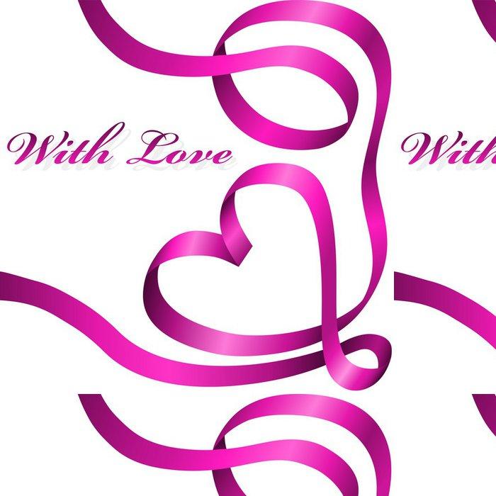 Tapeta Pixerstick Růžová dekorace stuha stočený do tvaru srdce. - Mezinárodní svátky