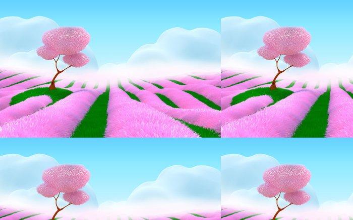 Tapeta Pixerstick Růžová fantasy krajiny - Jiné