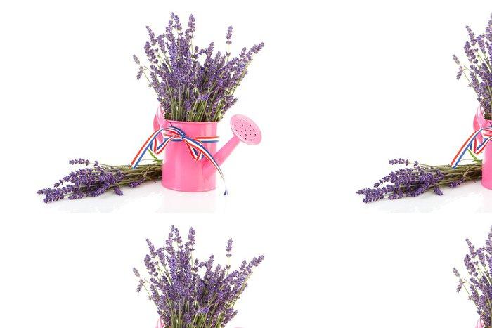 Tapeta Pixerstick Růžová konev s utrhnutým levandulí nad bílým pozadím - Květiny