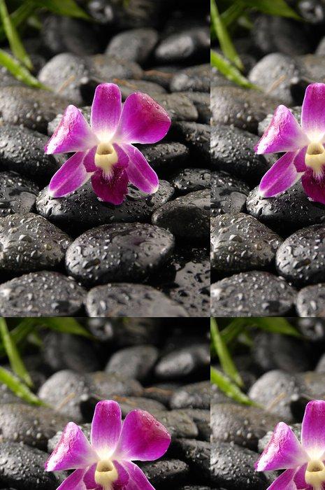 Vinylová Tapeta Růžová orchidej a zen kameny s vodní kapky - Životní styl, péče o tělo a krása