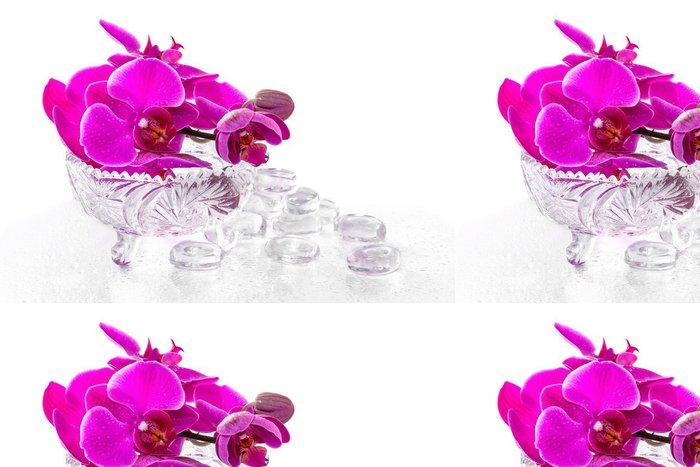 Tapeta Pixerstick Růžová orchidej s rosou a reflexe - Květiny
