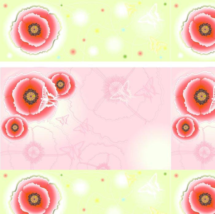 Tapeta Pixerstick Růžové a světle zelené pozadí s máky a - Květiny
