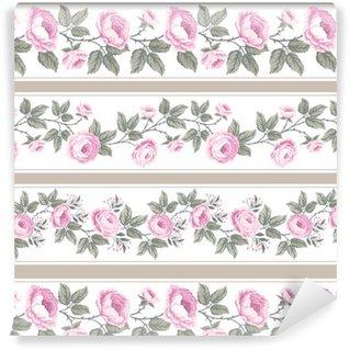 Vinylová Tapeta Sada bezešvých květinové hranic s růžemi
