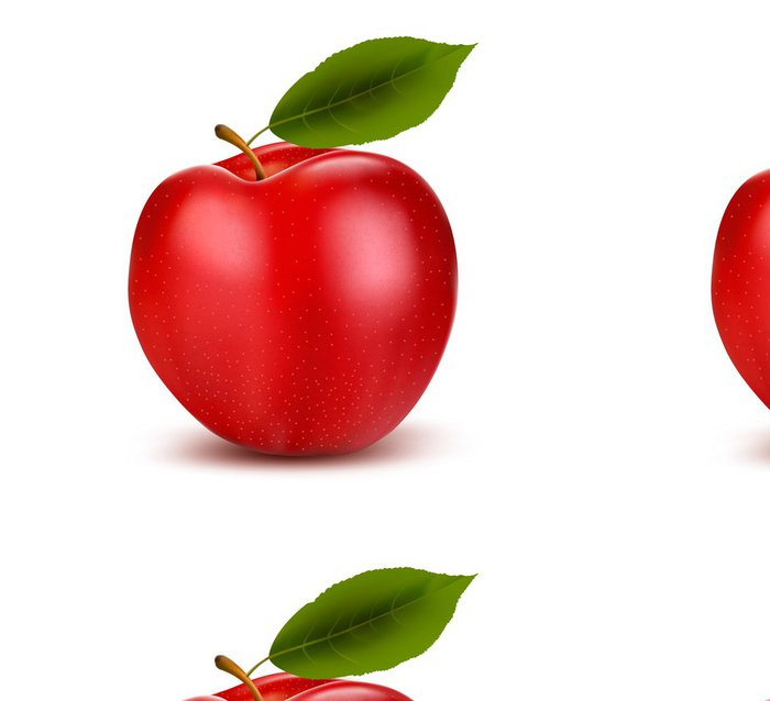Tapeta Pixerstick Sada červených a zelených jablek ovoce s řezem a zelené listy. Vec - Jídla