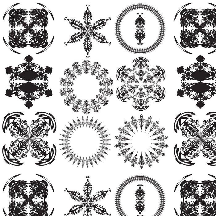 Tapeta Pixerstick Sada mandal na bílém pozadí (vektor) - Náboženství