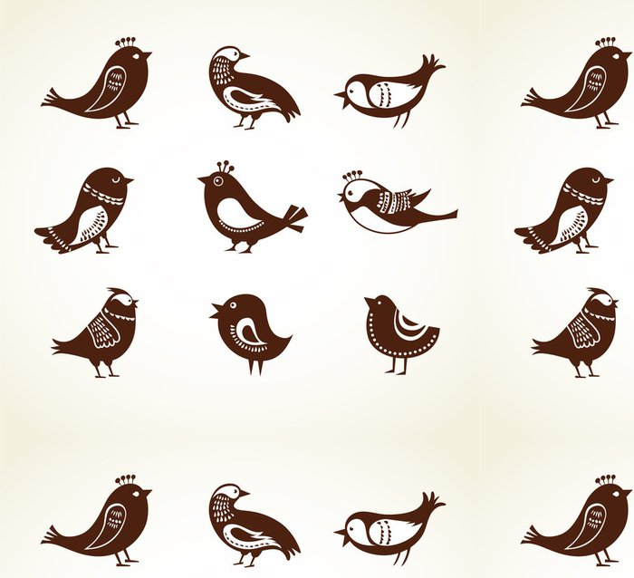 Tapeta Pixerstick Sada roztomilý dekorativních ptáků - Značky a symboly