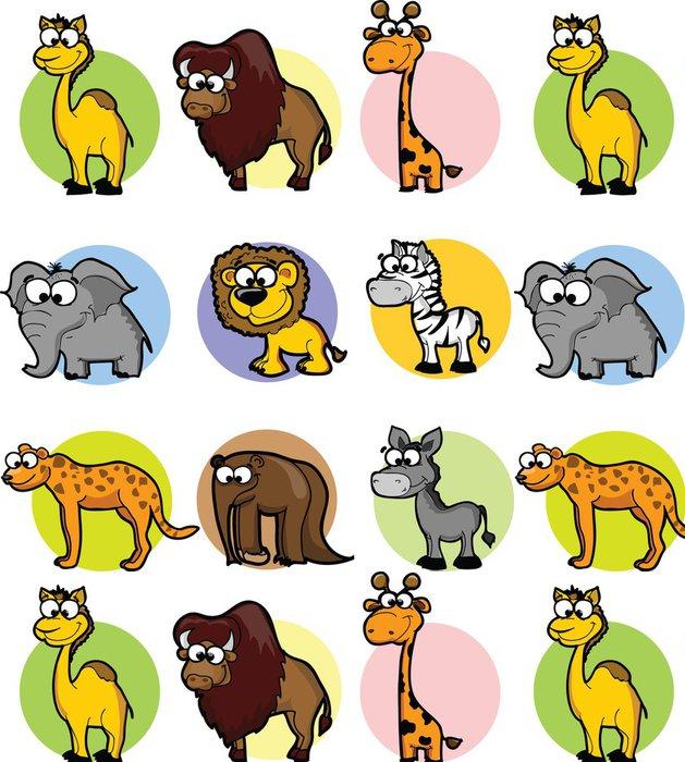 Tapeta Pixerstick Sada roztomilých kreslených zvířat - Savci