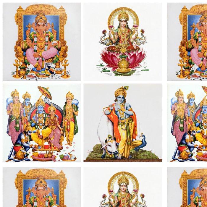 Tapeta Pixerstick Sada starožitné dlaždice s obrazy hinduistických bohů: (Gansha, Lakshm -