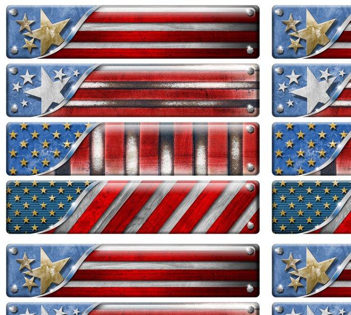 Tapeta Pixerstick Sada USA Flags Grunge s ořezovou cestou - Úspěch