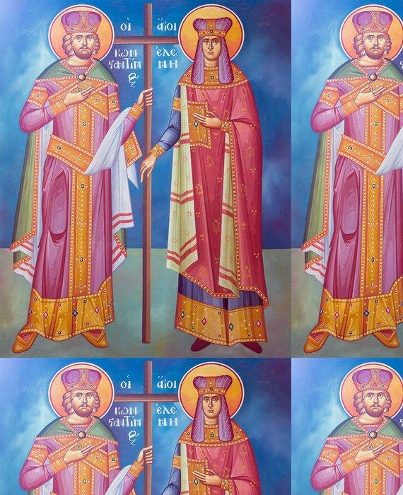 Tapeta Pixerstick Saint Constantine a Helen freska z řecké pravoslavné církve - Náboženství