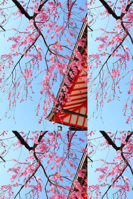 Tapeta Pixerstick Sakura strom a chrám - Květiny