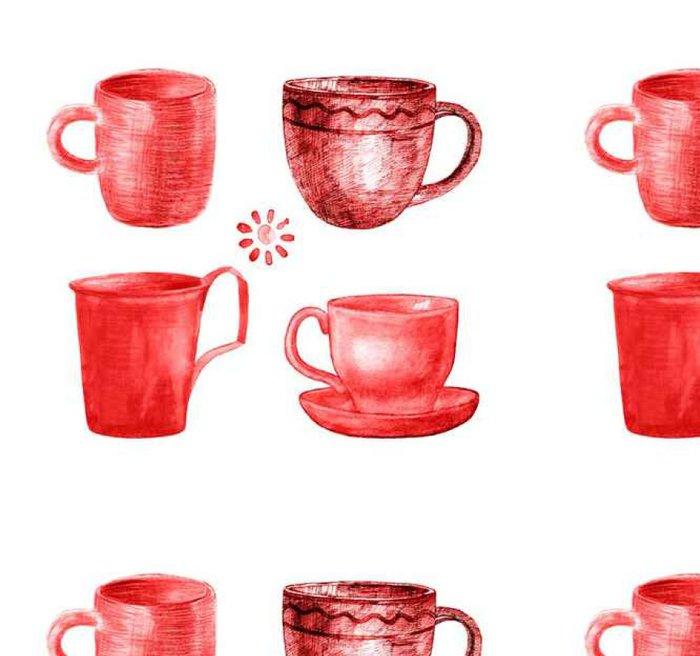 Tapeta Pixerstick Šálek kávy malované nastavit - Pití