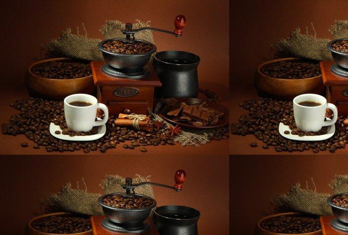 Tapeta Pixerstick Šálek kávy, mlýnek, Turku a kávových zrn -