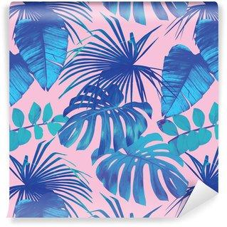 Tropikalnych liści bezszwowe tło