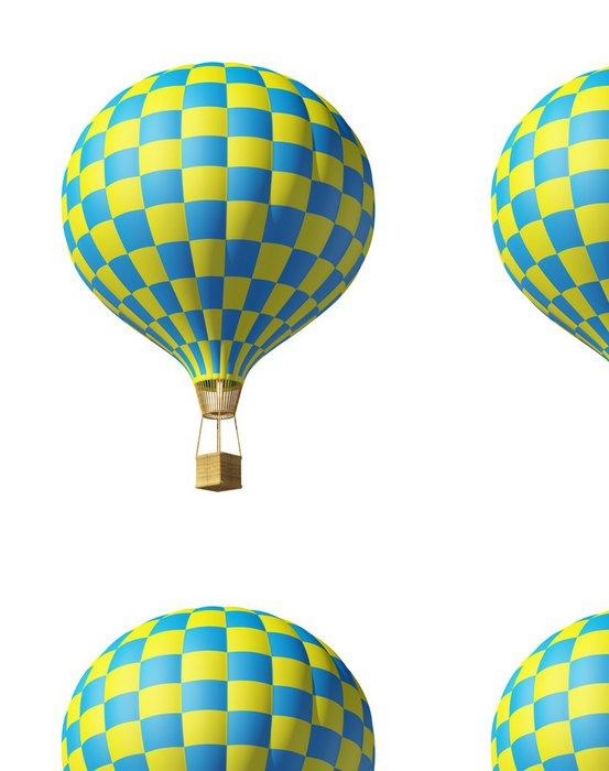 Tapeta Pixerstick Samostatný na bílém 3d modrá-žlutá balónu - Vzduch