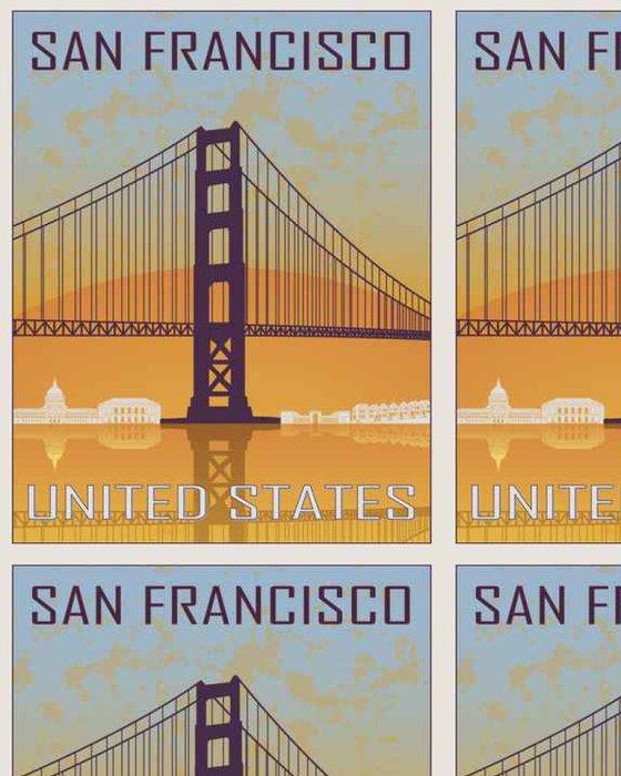 Tapeta Pixerstick San Francisco ročník plakát - Cestování