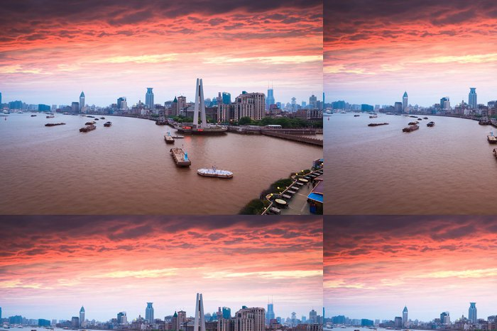 Tapeta Pixerstick Šanghaj bund v západu slunce - Nebe