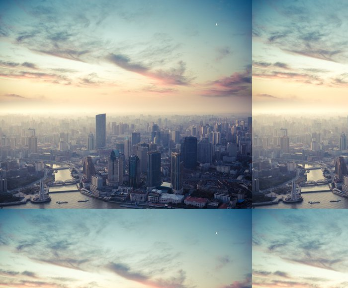 Tapeta Pixerstick Šanghaj za soumraku - Město