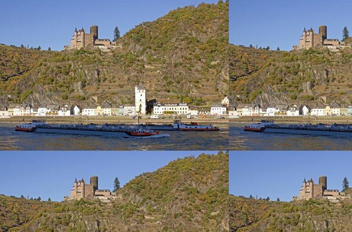 Tapeta Pixerstick Sankt Goarshausen und Burg Katz am Rhein (Rheinromantik) - Evropa