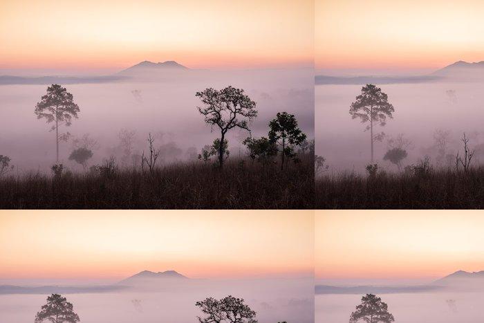 Tapeta Pixerstick Savana s východem slunce a mlha - Témata