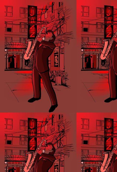 Tapeta Pixerstick Saxofonista v ulici v noci - Jazz