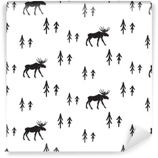 Vinylová Tapeta Scandinavian jednoduchý styl černé a bílé jeleny bezešvé vzor. Jeleni a borovice siluetu černobílý vzor.