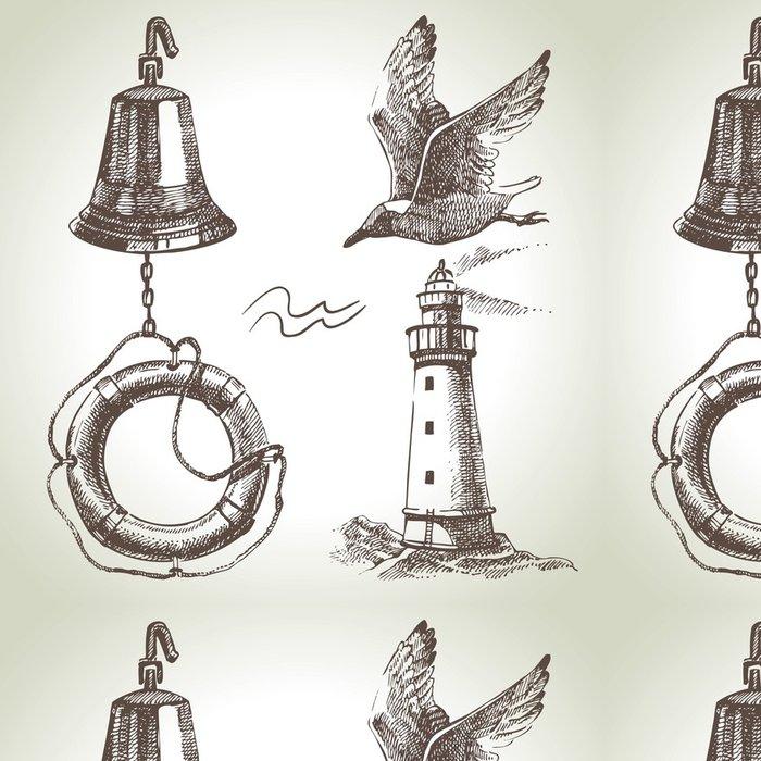 Tapeta Pixerstick Sea Sada prvků námořních návrhu. Ručně malovaná ilustrace - Doplňky a věci