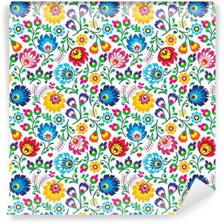Vinylová Tapeta Seamless Polish folk art floral pattern