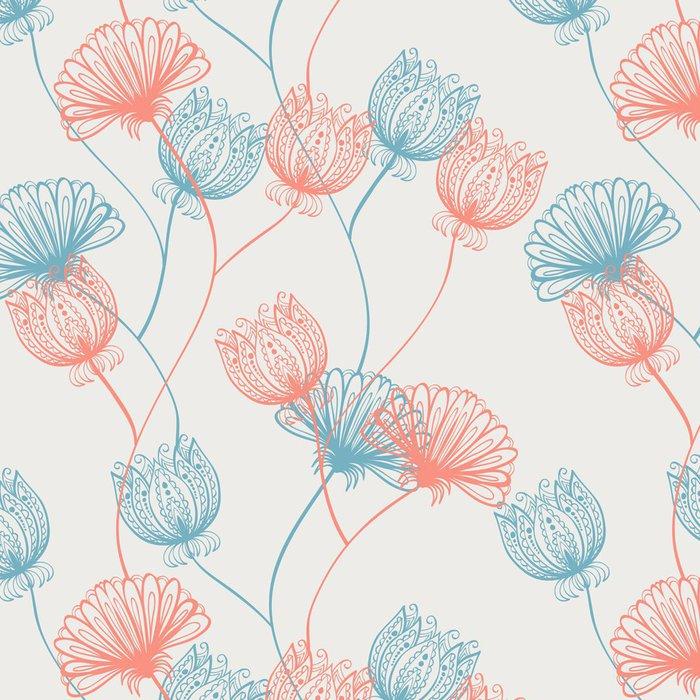 Tapeta Pixerstick Seamless ručně malovaná růžové a červené vintage vzor s květinami - Pozadí
