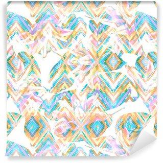 Tapeta Pixerstick Seamless tropical květinovým vzorem. Orientální růžové lilie a exotické Calathea listí na barevné geometrické ornament, smíšené efekt. Měkké tóny. Ručně malované akvarel umění. Textilie textura.