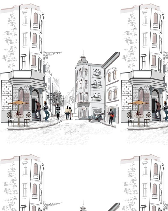Vinylová Tapeta Série výhledem do ulice s lidmi ve starém městě - Evropa