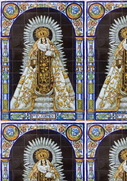 Tapeta Pixerstick Sevilla - keramická dlažba Madonna (Nostra Senora del Carmen) - Cestování