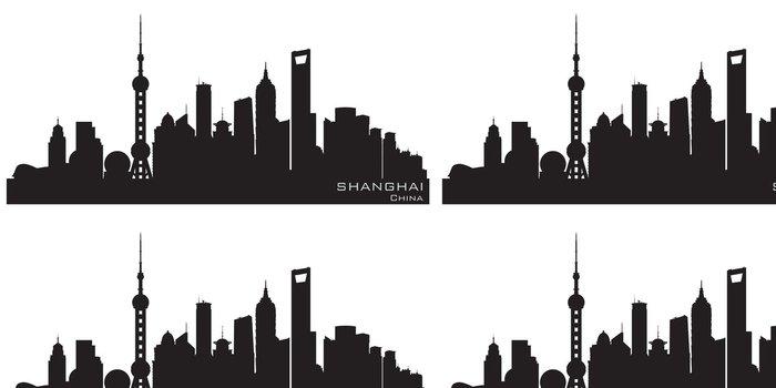 Tapeta Pixerstick Shanghai Čína panorama města silueta vektor - Asijská města