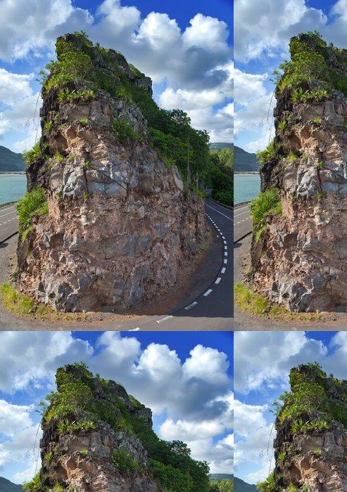 Vinylová Tapeta Silnice mezi kopci u jezera. Mauritius - Afrika