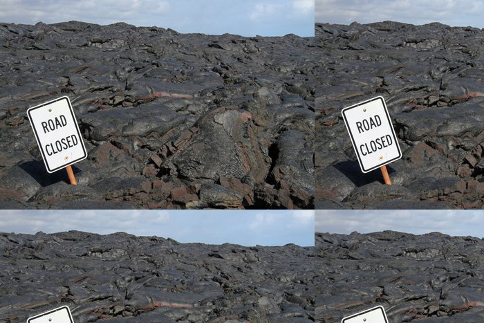 Tapeta Pixerstick Silnice uzavřena - Lavafeld bei Kalapana (Big Island, Hawaii) - Prázdniny