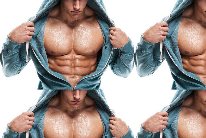 Tapeta Pixerstick Silný Athletic Man Fitness Model Torso ukazuje šest balení abs. je - Osud