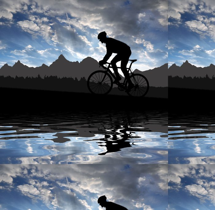 Tapeta Pixerstick Silueta cyklisty, jízda na silniční kolo při západu slunce - Cyklistika