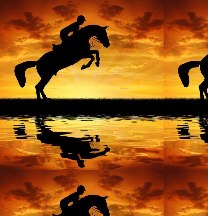 Tapeta Pixerstick Silueta jezdce na koni skákání - Savci