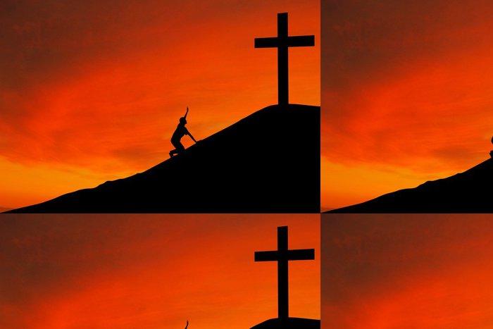 Tapeta Pixerstick Silueta muže s křížem - Náboženství