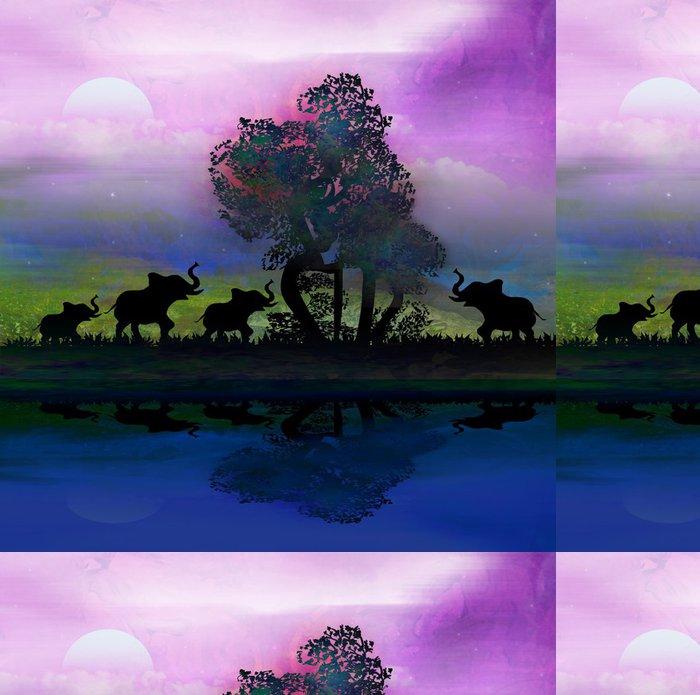 Vinylová Tapeta Silueta slonů v Africe téma prostředí s krásným c - Savci