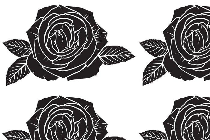 Vinylová Tapeta Silueta svěží růže květ - Květiny