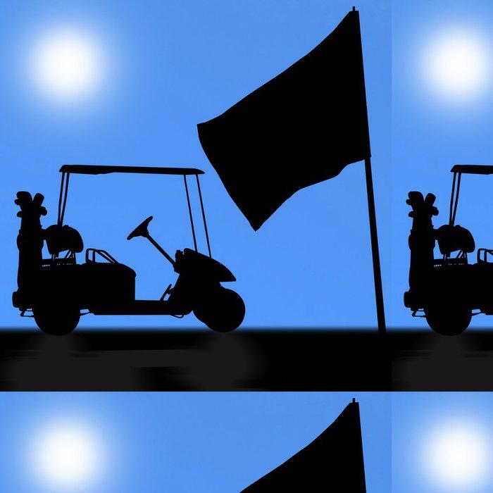 Vinylová Tapeta Siluety golfovým vozíkem - Individuální sporty