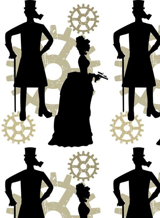 Tapeta Pixerstick Siluety steampunk neo viktoriánské diakritikou by výstřední zařízení - Steampunk