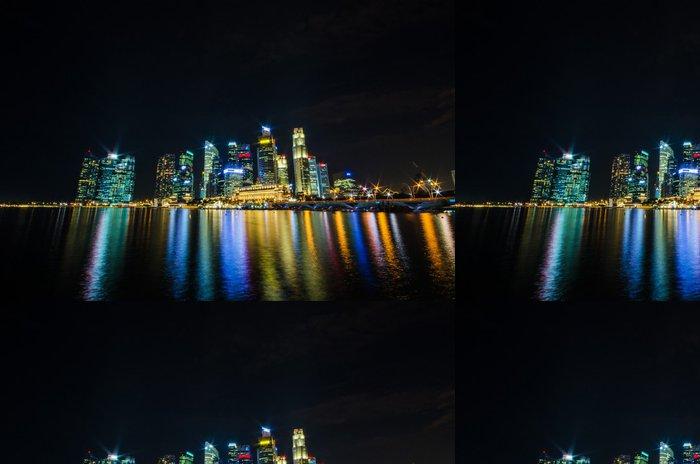 Tapeta Pixerstick Singapore city panorama pohled na obchodní čtvrti v noci Ti - Jiné