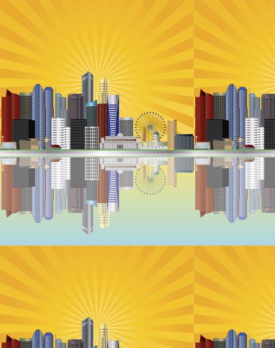 Tapeta Pixerstick Singapore City Skyline se slunečními paprsky ilustrace - Asijská města