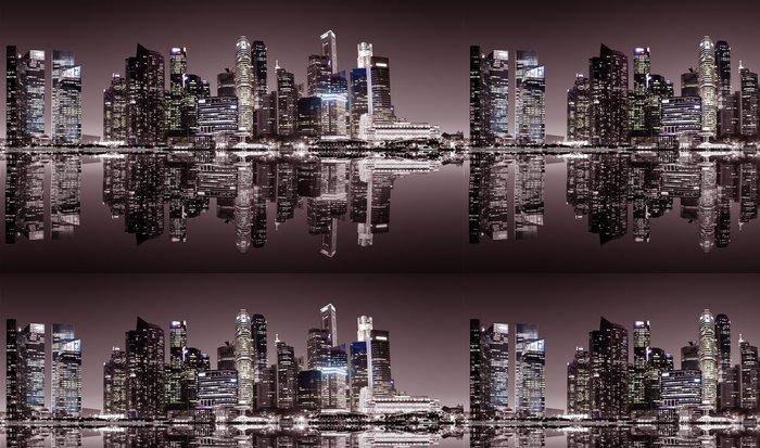 Tapeta Pixerstick Singapur centru noční pohled - Jiné