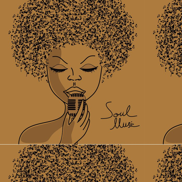 Tapeta Pixerstick Singer silueta s hudební noty vlasy - Jazz